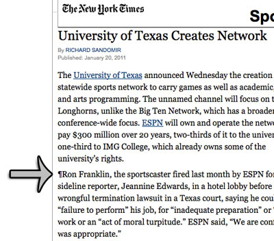 Ron Franklin story next to ESPN Texas story in NY Times