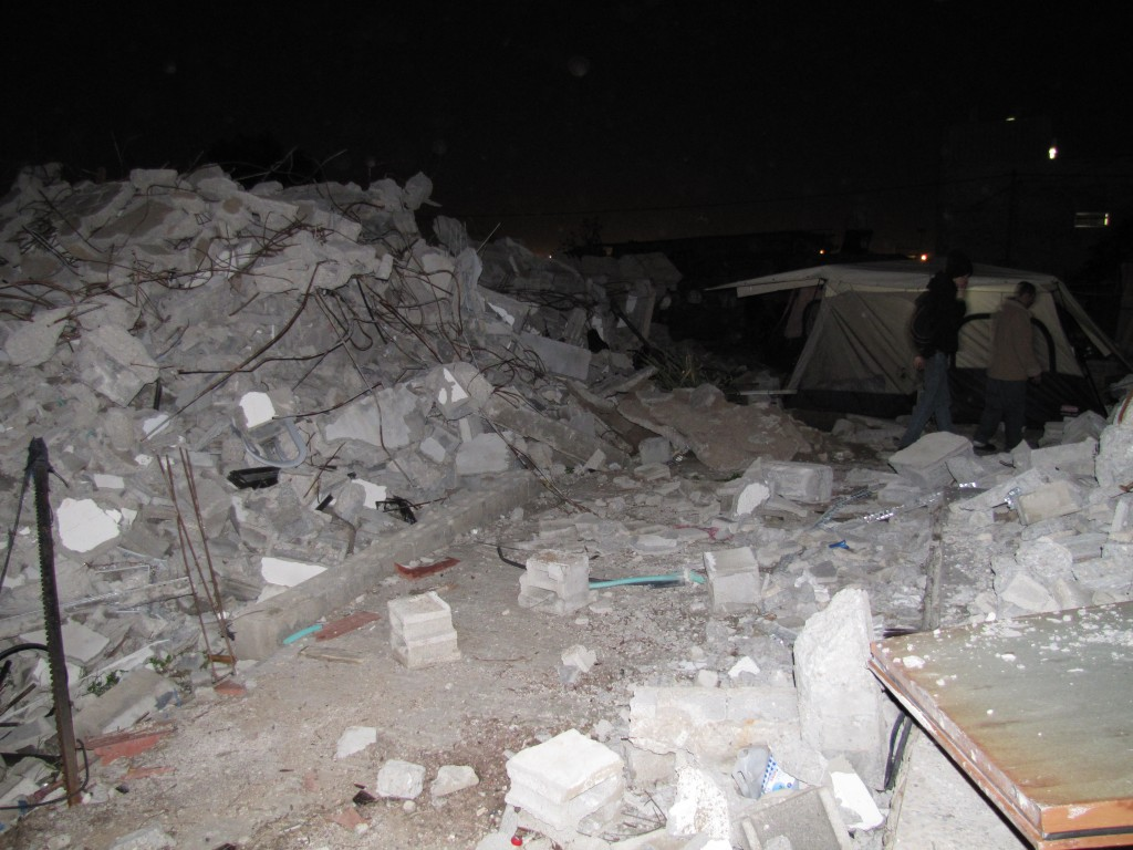 Over 70 members of the Abu Eid family sleep in tents next to their destroyed homes.